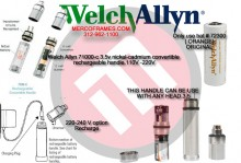 Welch Allyn 71000-c 3.5v nickel-cadmium convertible rechargeable handle.110V -220V