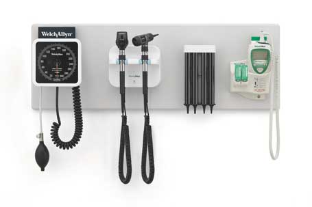 Welch Allyn Green Series 777 Integrated Wall Diagnostic System with SureColor LED Technology including Wall Aneroid Sphygmomanometer