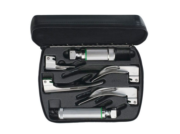 68696 Welch Allyn Miller 2.5 V Halogen HPX Fiber-Optic Laryngoscope Set; Green Standard (ISO 7376), Stainless Steel, Blade Sizes #0 to #4 (Qty. 5), Medium C-Cell Power Handle, Small AA-Cell Power Handle, Hard Storage Case