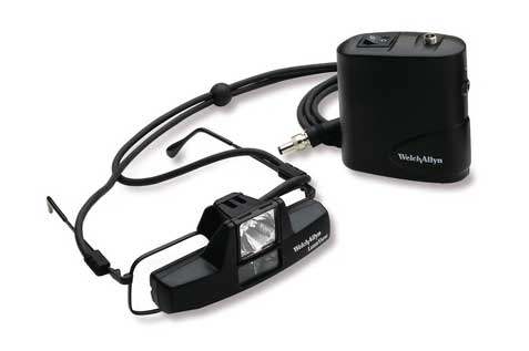 20500S Welch Allyn LumiView 3.5 V Halogen Portable Binocular Microscope with Spectacle Mount